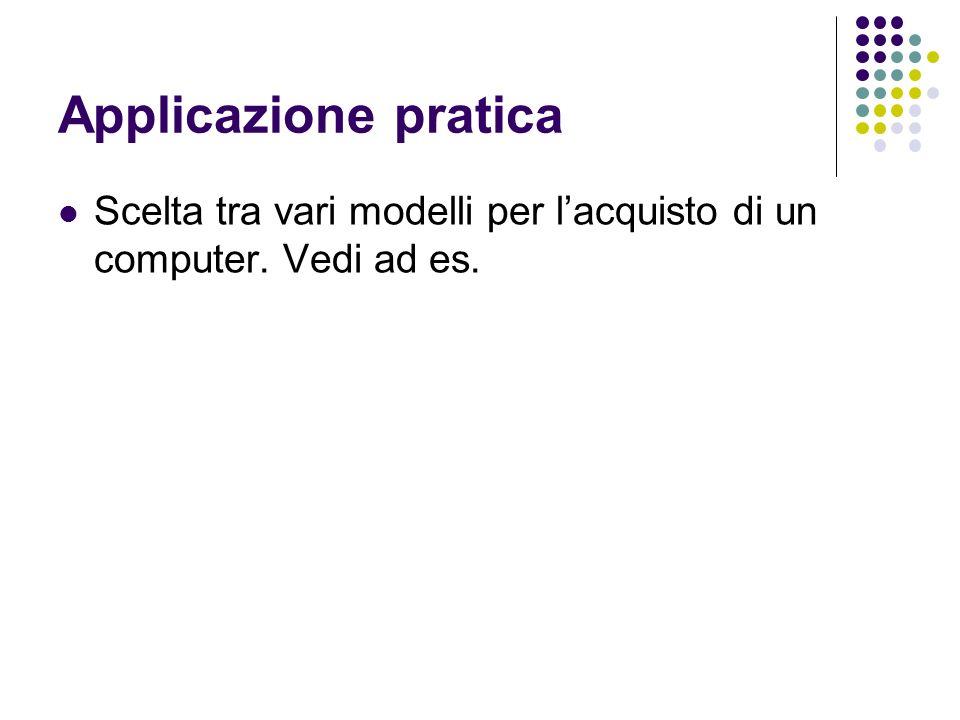Applicazione pratica Scelta tra vari modelli per lacquisto di un computer. Vedi ad es.