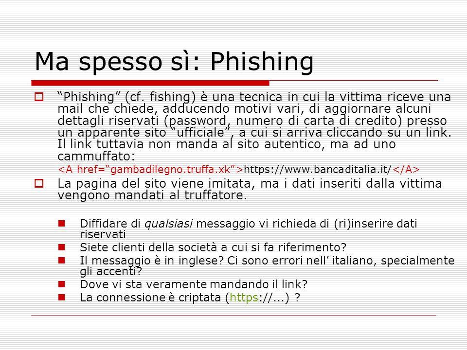 Ma spesso sì: Phishing Phishing (cf.