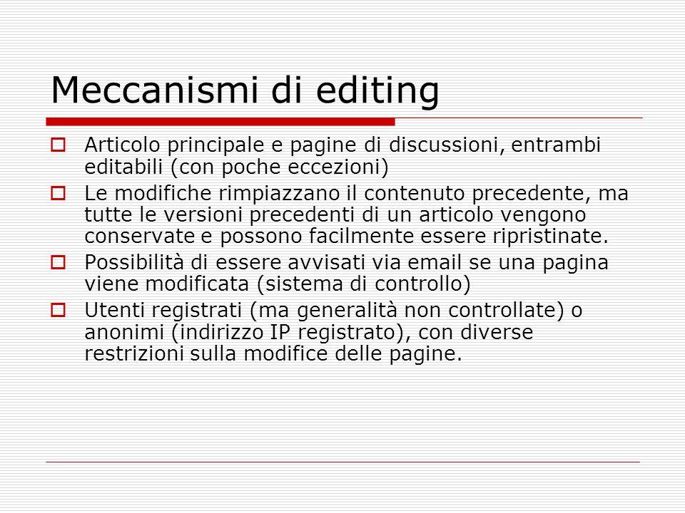 Meccanismi di editing Articolo principale e pagine di discussioni, entrambi editabili (con poche eccezioni) Le modifiche rimpiazzano il contenuto precedente, ma tutte le versioni precedenti di un articolo vengono conservate e possono facilmente essere ripristinate.
