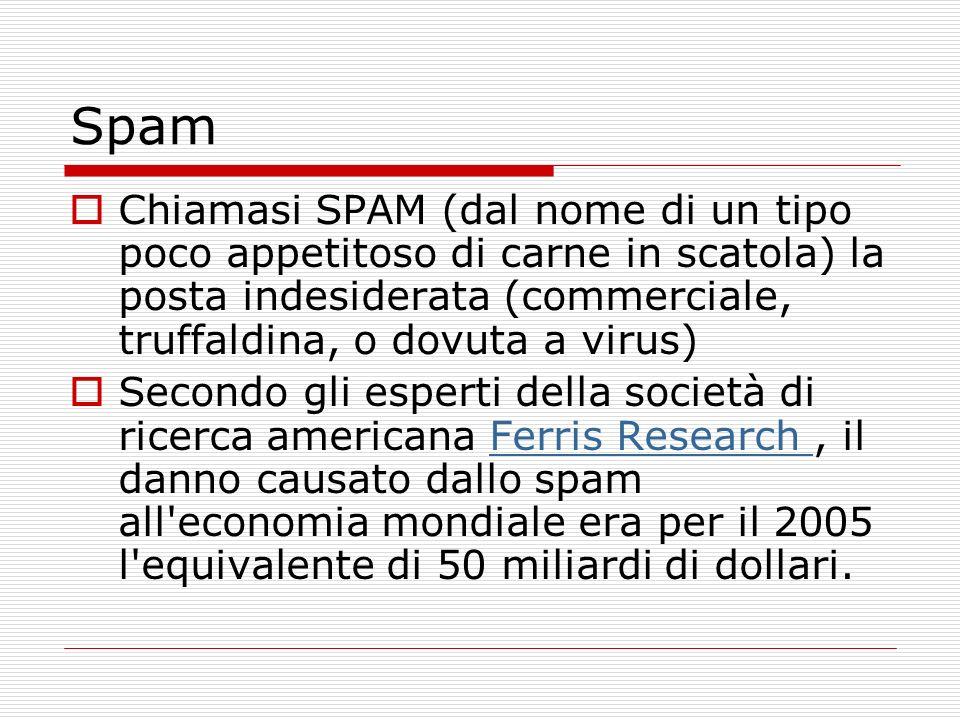 Spam Chiamasi SPAM (dal nome di un tipo poco appetitoso di carne in scatola) la posta indesiderata (commerciale, truffaldina, o dovuta a virus) Secondo gli esperti della società di ricerca americana Ferris Research, il danno causato dallo spam all economia mondiale era per il 2005 l equivalente di 50 miliardi di dollari.Ferris Research