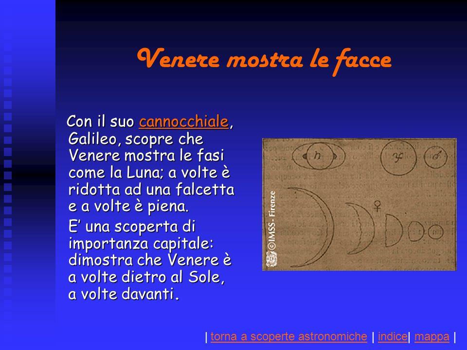 | torna a scoperte astronomiche | indice| mappa |torna a scoperte astronomicheindicemappa Venere mostra le facce Con il suo cannocchiale, Galileo, scopre che Venere mostra le fasi come la Luna; a volte è ridotta ad una falcetta e a volte è piena.