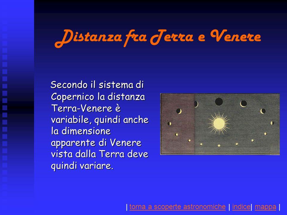 | torna a scoperte astronomiche | indice| mappa |torna a scoperte astronomicheindicemappa Distanza fra Terra e Venere Secondo il sistema di Copernico la distanza Terra-Venere è variabile, quindi anche la dimensione apparente di Venere vista dalla Terra deve quindi variare.