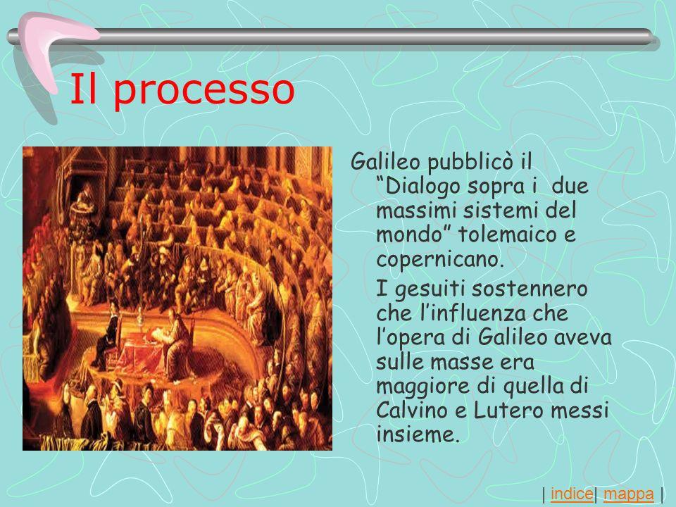 | indice| mappa |indicemappa Il processo Galileo pubblicò il Dialogo sopra i due massimi sistemi del mondo tolemaico e copernicano. I gesuiti sostenne