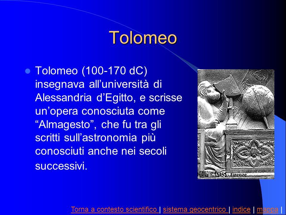 Tolomeo Tolomeo (100-170 dC) insegnava alluniversità di Alessandria dEgitto, e scrisse unopera conosciuta come Almagesto, che fu tra gli scritti sulla