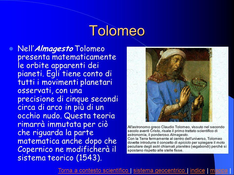 Tolomeo NellAlmagesto Tolomeo presenta matematicamente le orbite apparenti dei pianeti. Egli tiene conto di tutti i movimenti planetari osservati, con