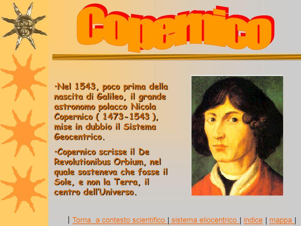 Nel 1543, poco prima della nascita di Galileo, il grande astronomo polacco Nicola Copernico ( 1473-1543 ), mise in dubbio il Sistema Geocentrico.Nel 1543, poco prima della nascita di Galileo, il grande astronomo polacco Nicola Copernico ( 1473-1543 ), mise in dubbio il Sistema Geocentrico.