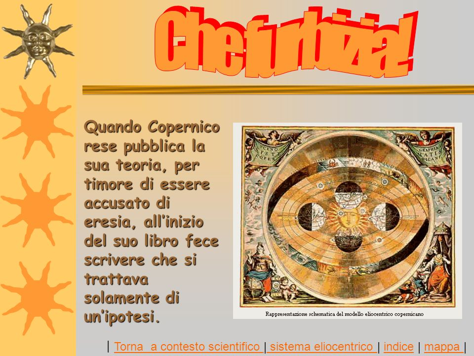 Quando Copernico rese pubblica la sua teoria, per timore di essere accusato di eresia, allinizio del suo libro fece scrivere che si trattava solamente di unipotesi.