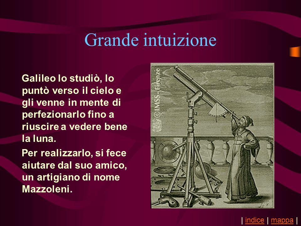 Grande intuizione Galileo lo studiò, lo puntò verso il cielo e gli venne in mente di perfezionarlo fino a riuscire a vedere bene la luna. Per realizza