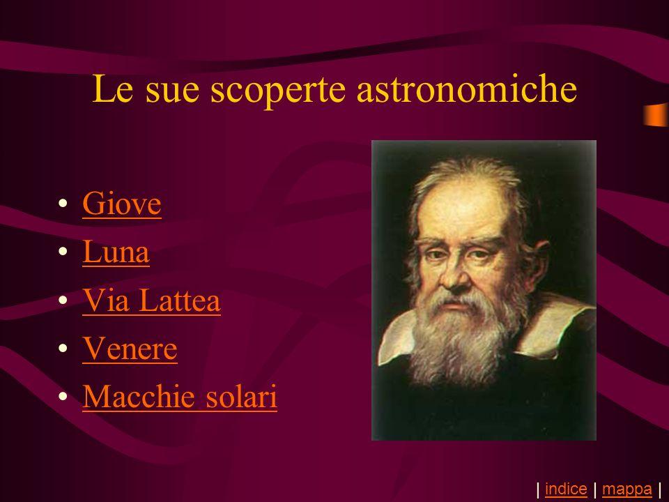 Le sue scoperte astronomiche Giove Luna Via Lattea Venere Macchie solari | indice | mappa |indicemappa