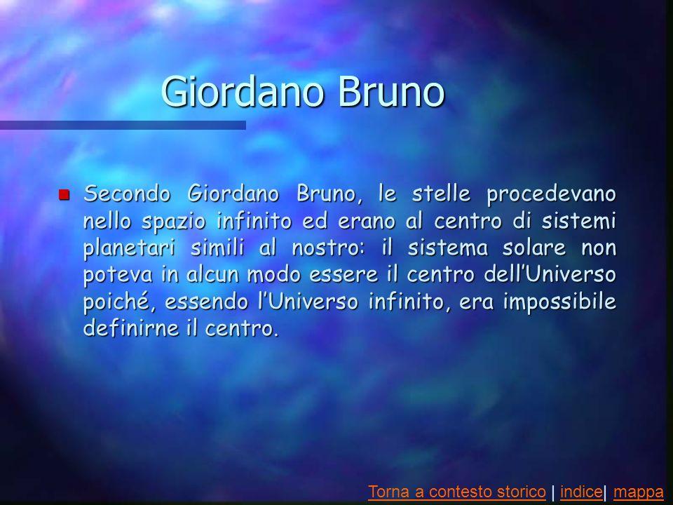 Giordano Bruno n Secondo Giordano Bruno, le stelle procedevano nello spazio infinito ed erano al centro di sistemi planetari simili al nostro: il sistema solare non poteva in alcun modo essere il centro dellUniverso poiché, essendo lUniverso infinito, era impossibile definirne il centro.