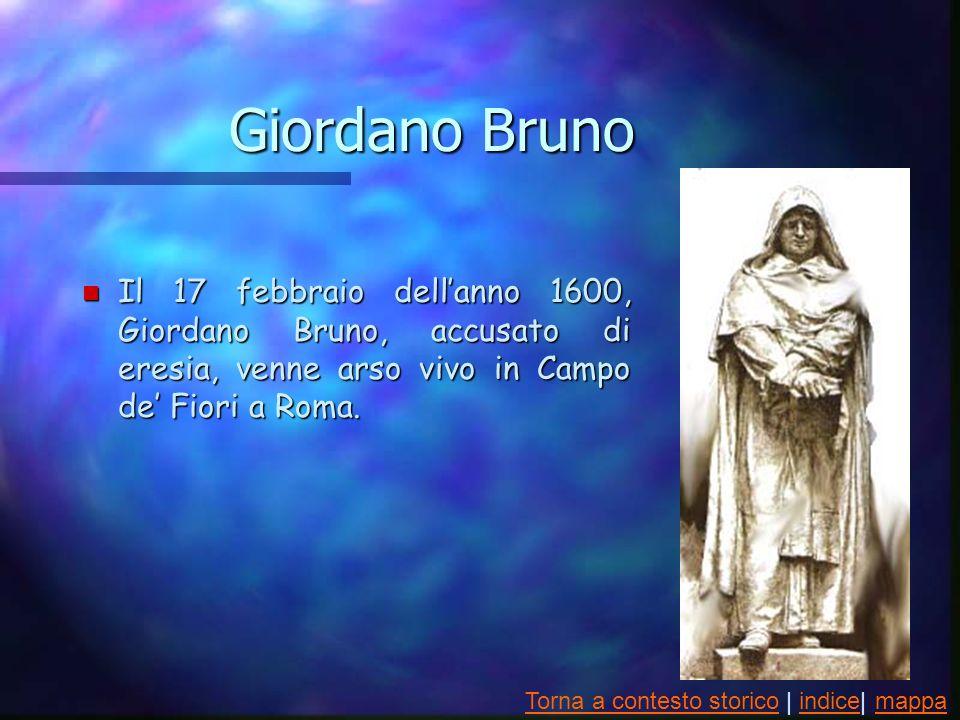 Giordano Bruno n Il 17 febbraio dellanno 1600, Giordano Bruno, accusato di eresia, venne arso vivo in Campo de Fiori a Roma.