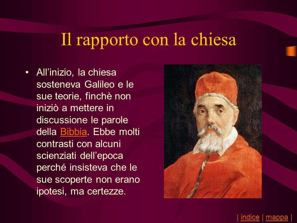 Il rapporto con la chiesa Allinizio, la chiesa sosteneva Galileo e le sue teorie, finchè non iniziò a mettere in discussione le parole della Bibbia. E