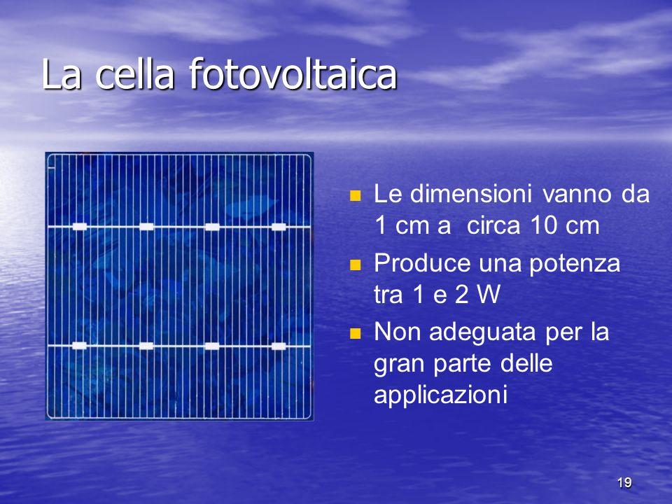 19 Le dimensioni vanno da 1 cm a circa 10 cm Produce una potenza tra 1 e 2 W Non adeguata per la gran parte delle applicazioni La cella fotovoltaica