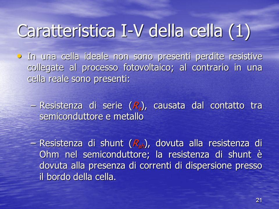 21 In una cella ideale non sono presenti perdite resistive collegate al processo fotovoltaico; al contrario in una cella reale sono presenti: In una cella ideale non sono presenti perdite resistive collegate al processo fotovoltaico; al contrario in una cella reale sono presenti: –Resistenza di serie (R s ), causata dal contatto tra semiconduttore e metallo –Resistenza di shunt (R sh ), dovuta alla resistenza di Ohm nel semiconduttore; la resistenza di shunt è dovuta alla presenza di correnti di dispersione presso il bordo della cella.