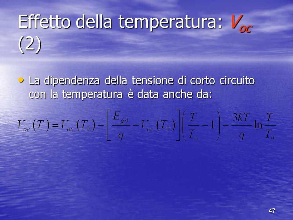 47 Effetto della temperatura: V oc (2) La dipendenza della tensione di corto circuito con la temperatura è data anche da: La dipendenza della tensione di corto circuito con la temperatura è data anche da: