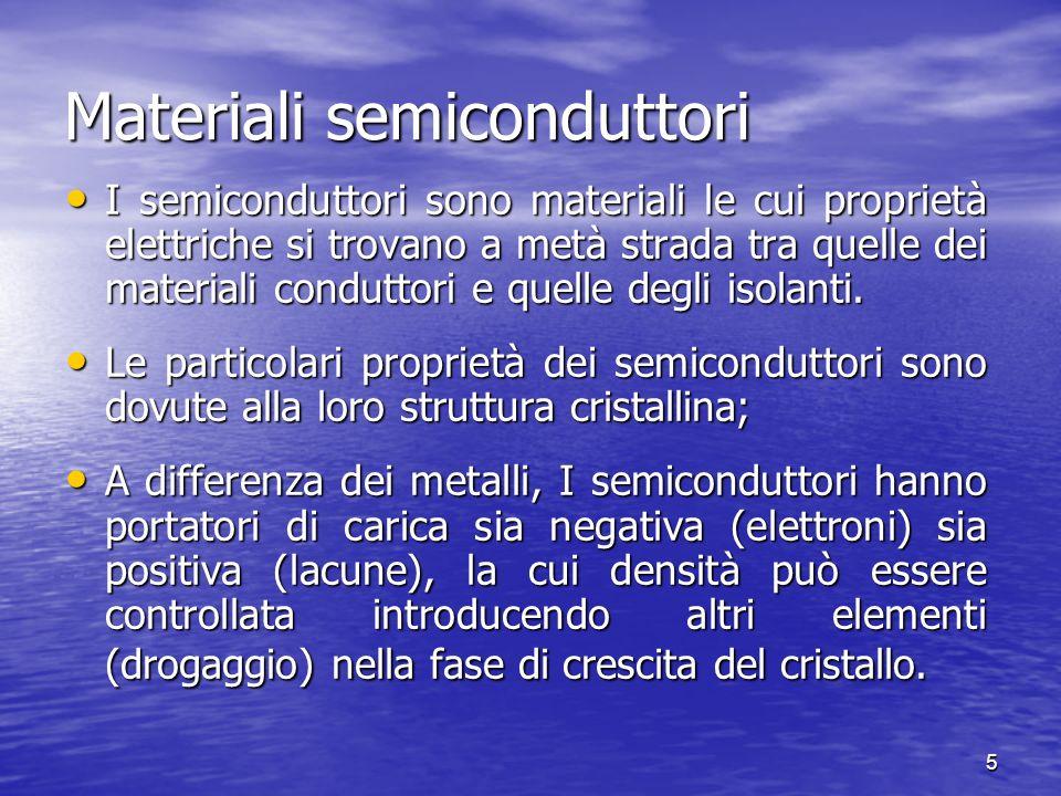 5 Materiali semiconduttori I semiconduttori sono materiali le cui proprietà elettriche si trovano a metà strada tra quelle dei materiali conduttori e quelle degli isolanti.