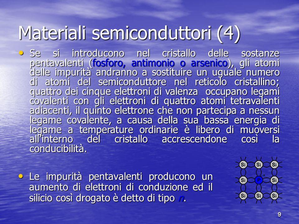 9 Materiali semiconduttori (4) Le impurità pentavalenti producono un aumento di elettroni di conduzione ed il silicio così drogato è detto di tipo n.