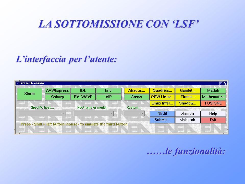 LA SOTTOMISSIONE CON LSF Linterfaccia per lutente: ……le funzionalità: