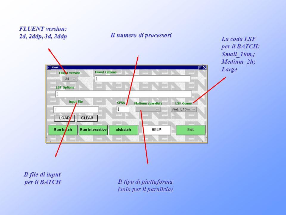 FLUENT version: 2d, 2ddp, 3d, 3ddp Il file di input per il BATCH Il numero di processori Il tipo di piattaforma (solo per il parallelo) La coda LSF pe