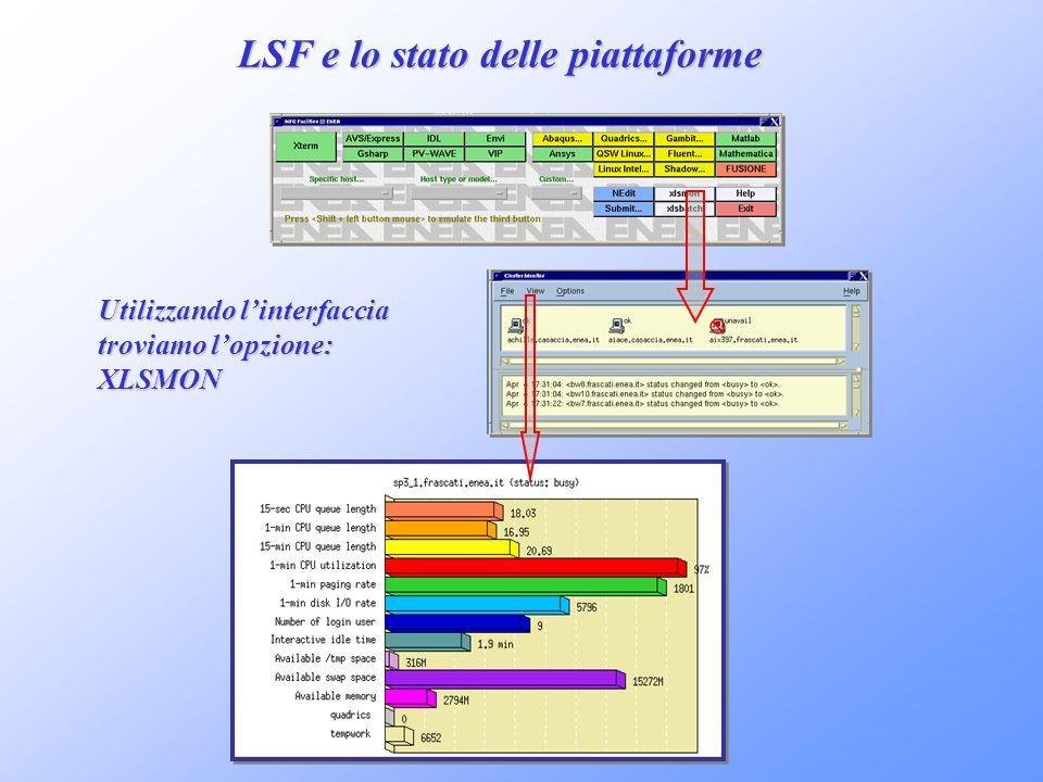 LSF e lo stato delle piattaforme Utilizzando linterfaccia troviamo lopzione: XLSMON