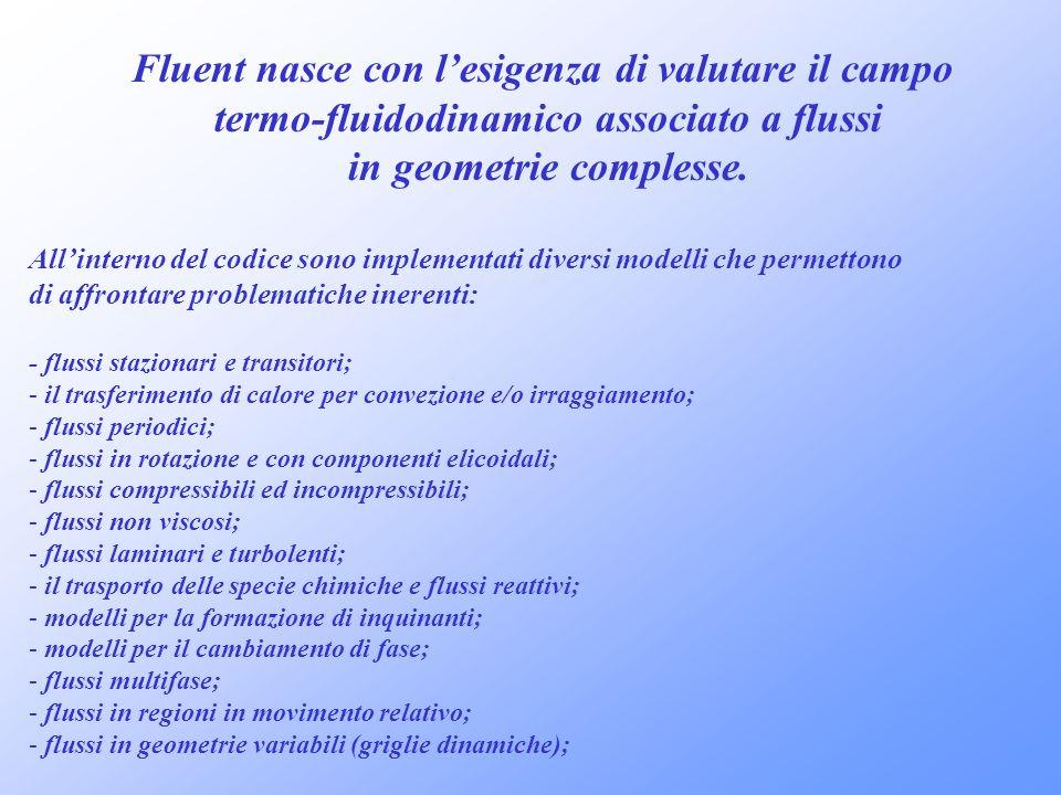 Fluent nasce con lesigenza di valutare il campo termo-fluidodinamico associato a flussi in geometrie complesse. Allinterno del codice sono implementat