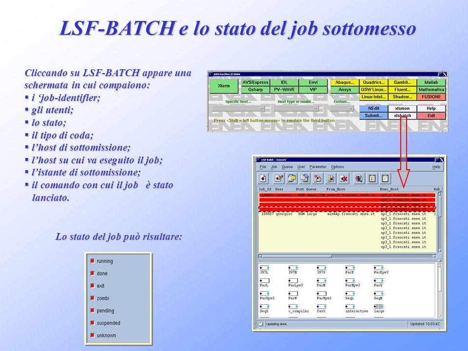 LSF-BATCH e lo stato del job sottomesso Cliccando su LSF-BATCH appare una schermata in cui compaiono: i job-identifier; i job-identifier; gli utenti;