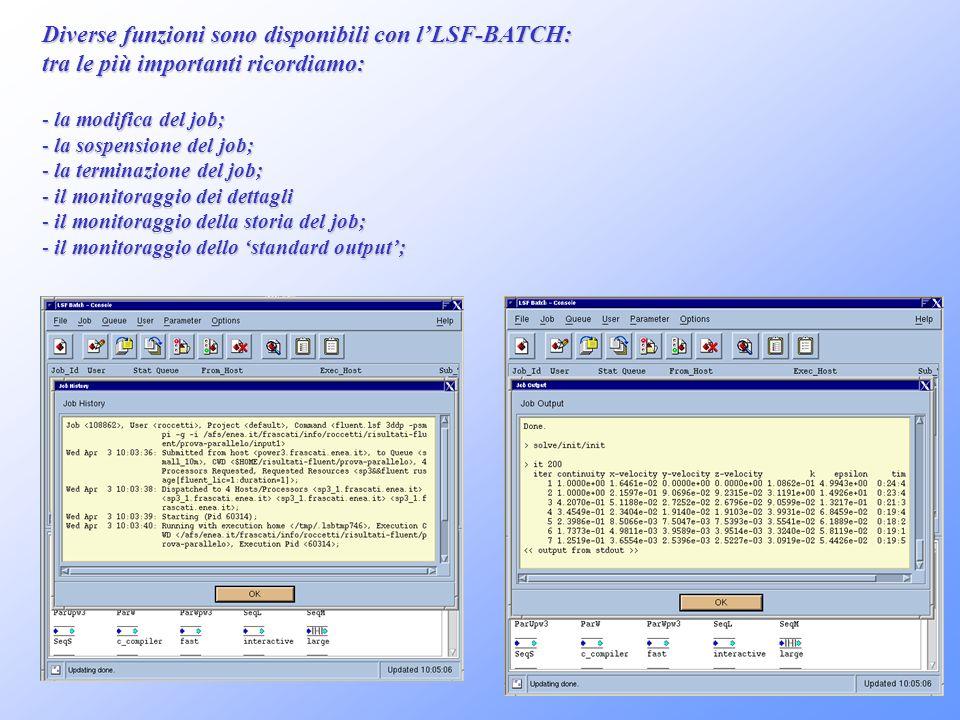 Diverse funzioni sono disponibili con lLSF-BATCH: tra le più importanti ricordiamo: - la modifica del job; - la sospensione del job; - la terminazione