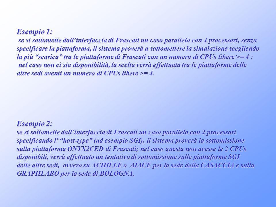 Esempio 1: se si sottomette dallinterfaccia di Frascati un caso parallelo con 4 processori, senza se si sottomette dallinterfaccia di Frascati un caso