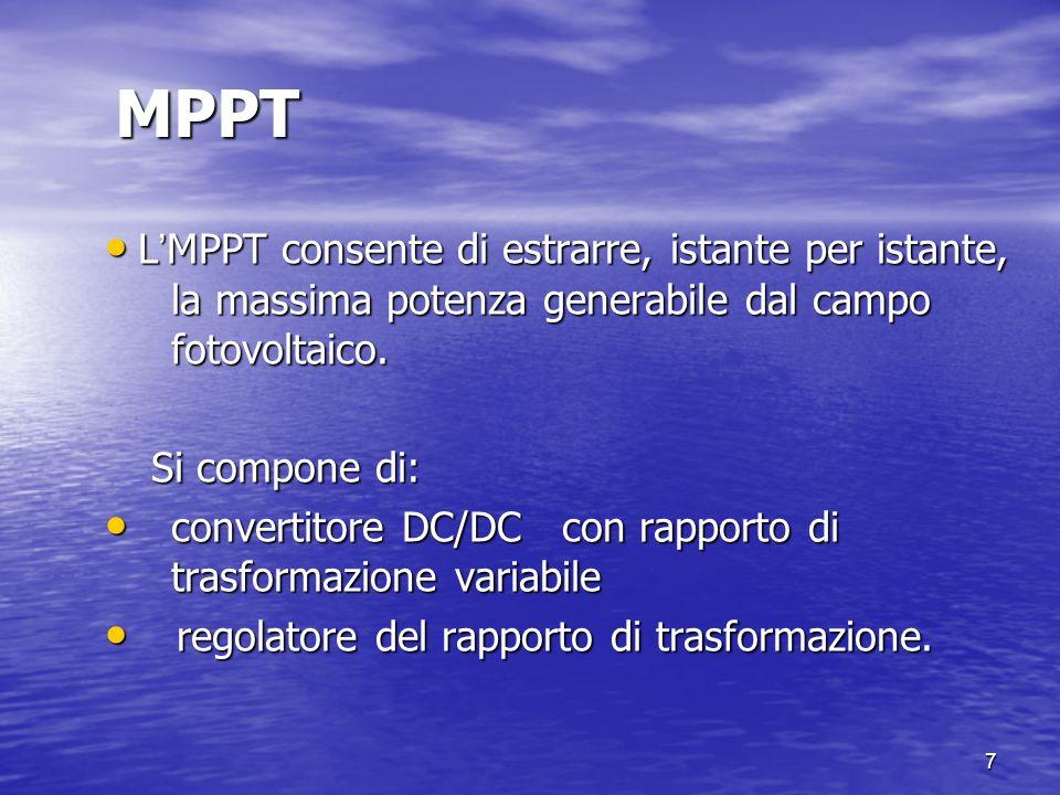 7 MPPT L MPPT consente di estrarre, istante per istante, la massima potenza generabile dal campo fotovoltaico. L MPPT consente di estrarre, istante pe