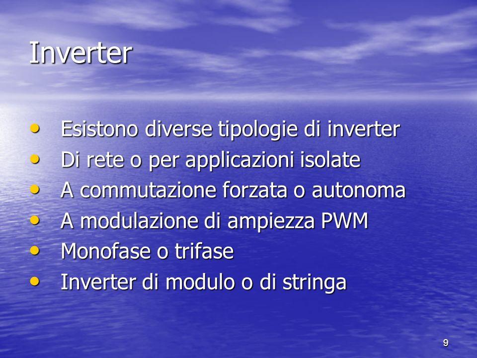 9 Inverter Esistono diverse tipologie di inverter Esistono diverse tipologie di inverter Di rete o per applicazioni isolate Di rete o per applicazioni