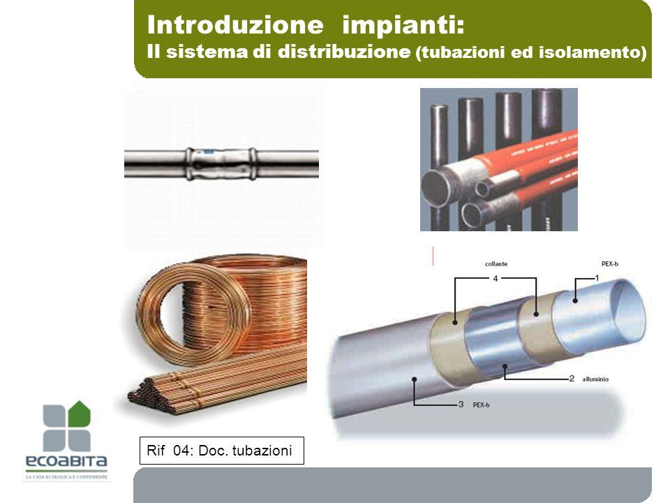 Introduzione impianti: Il sistema di distribuzione (tubazioni ed isolamento) Rif 04: Doc. tubazioni