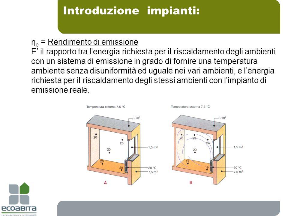 Introduzione impianti: η e = Rendimento di emissione E il rapporto tra lenergia richiesta per il riscaldamento degli ambienti con un sistema di emissi
