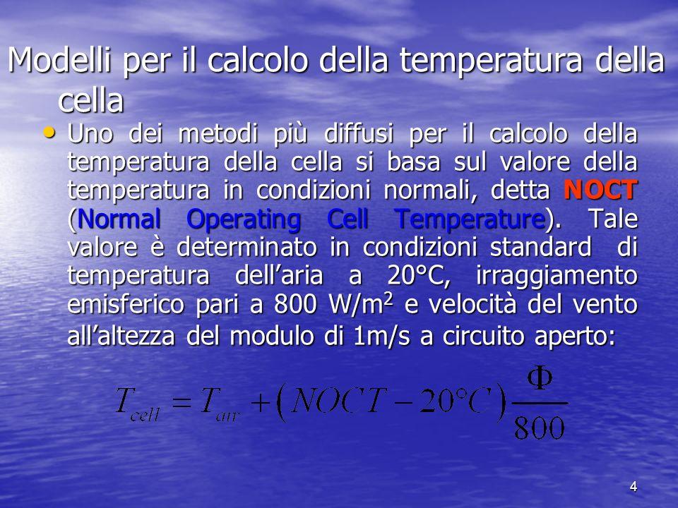 4 Modelli per il calcolo della temperatura della cella Uno dei metodi più diffusi per il calcolo della temperatura della cella si basa sul valore dell