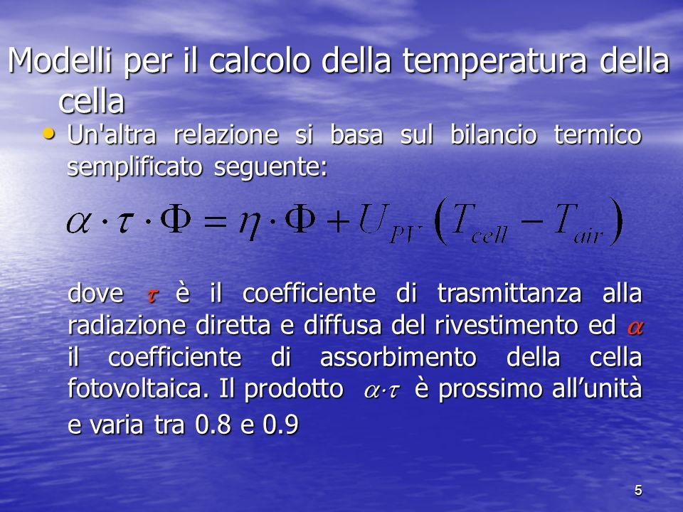 5 Un'altra relazione si basa sul bilancio termico semplificato seguente: Un'altra relazione si basa sul bilancio termico semplificato seguente: dove è