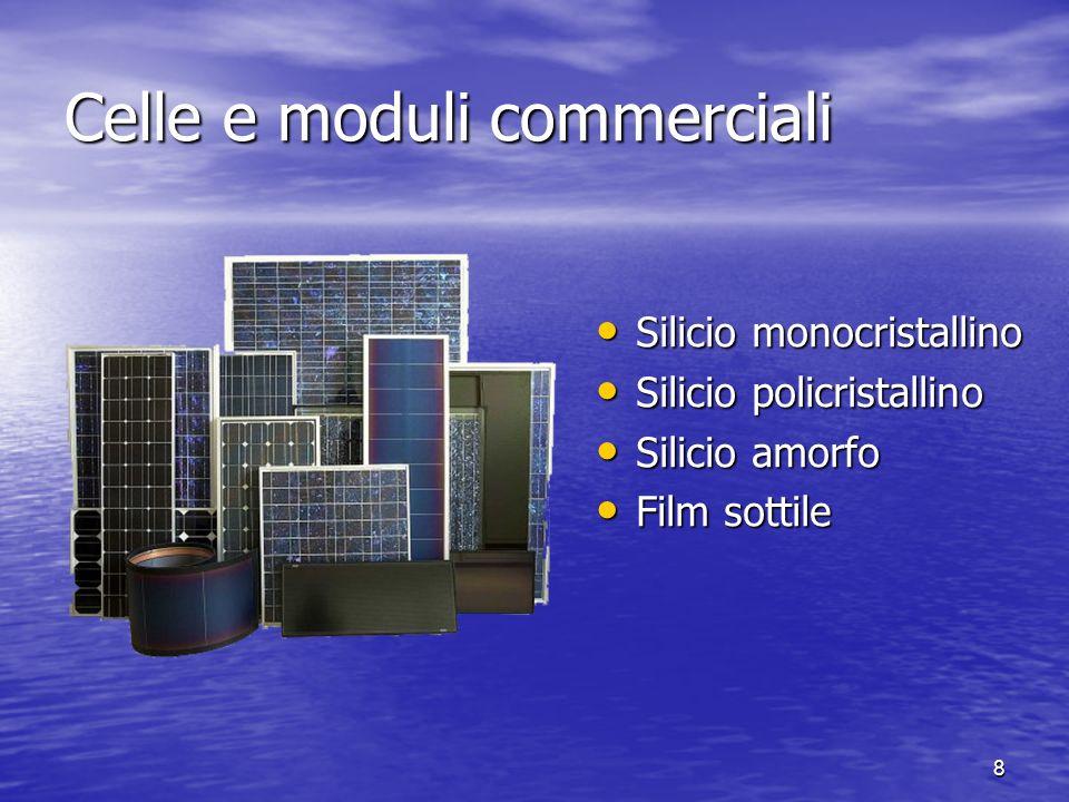 8 Celle e moduli commerciali Silicio monocristallino Silicio monocristallino Silicio policristallino Silicio policristallino Silicio amorfo Silicio am