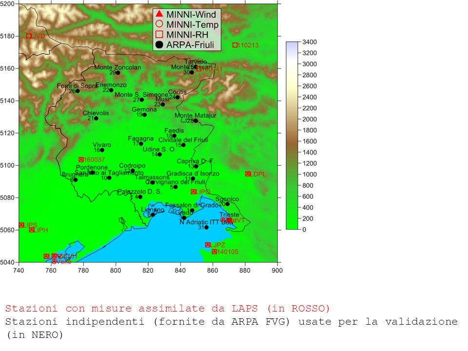 Stazioni con misure assimilate da LAPS (in ROSSO) Stazioni indipendenti (fornite da ARPA FVG) usate per la validazione (in NERO)
