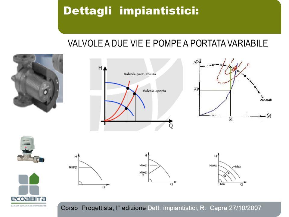 Corso Progettista, I° edizione Dett. impiantistici, R. Capra 27/10/2007 VALVOLE A DUE VIE E POMPE A PORTATA VARIABILE