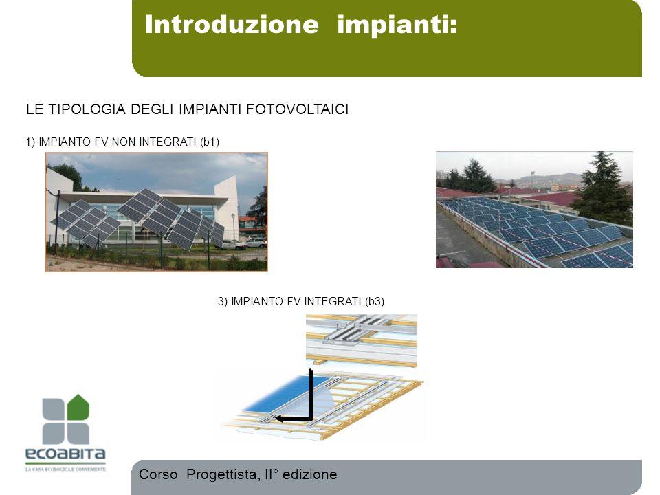 Introduzione impianti: Corso Progettista, II° edizione 1) IMPIANTO FV NON INTEGRATI (b1) 3) IMPIANTO FV INTEGRATI (b3) LE TIPOLOGIA DEGLI IMPIANTI FOT