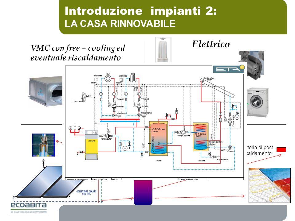 Introduzione impianti 2: LA CASA RINNOVABILE VMC con free – cooling ed eventuale riscaldamento Riscaldamento Batteria di post riscaldamento ACS Elettr