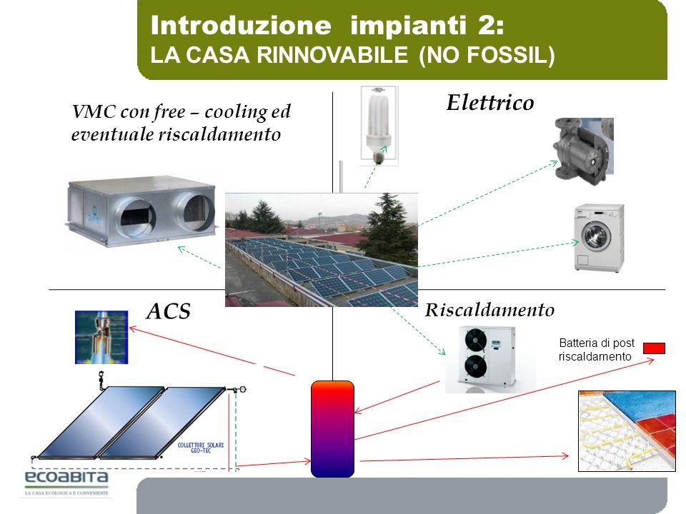 Introduzione impianti 2: LA CASA RINNOVABILE (NO FOSSIL) VMC con free – cooling ed eventuale riscaldamento Riscaldamento Batteria di post riscaldament