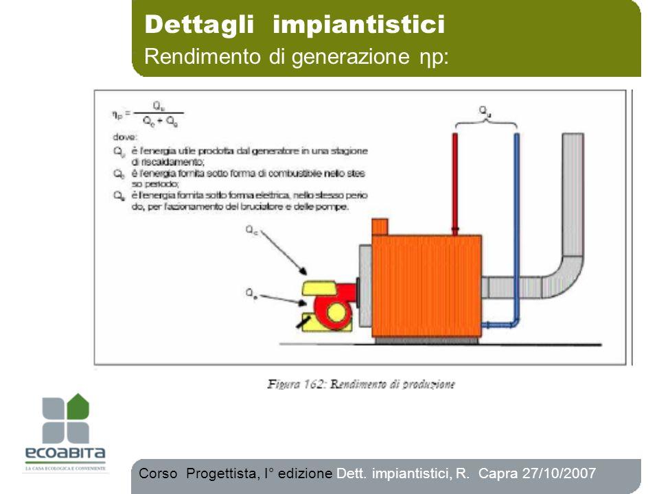 Dettagli impiantistici Rendimento di generazione ηp: Corso Progettista, I° edizione Dett. impiantistici, R. Capra 27/10/2007