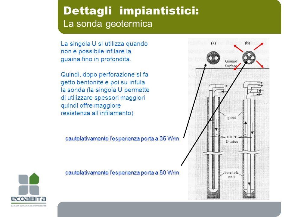 Dettagli impiantistici: La sonda geotermica La singola U si utilizza quando non è possibile infilare la guaina fino in profondità. Quindi, dopo perfor