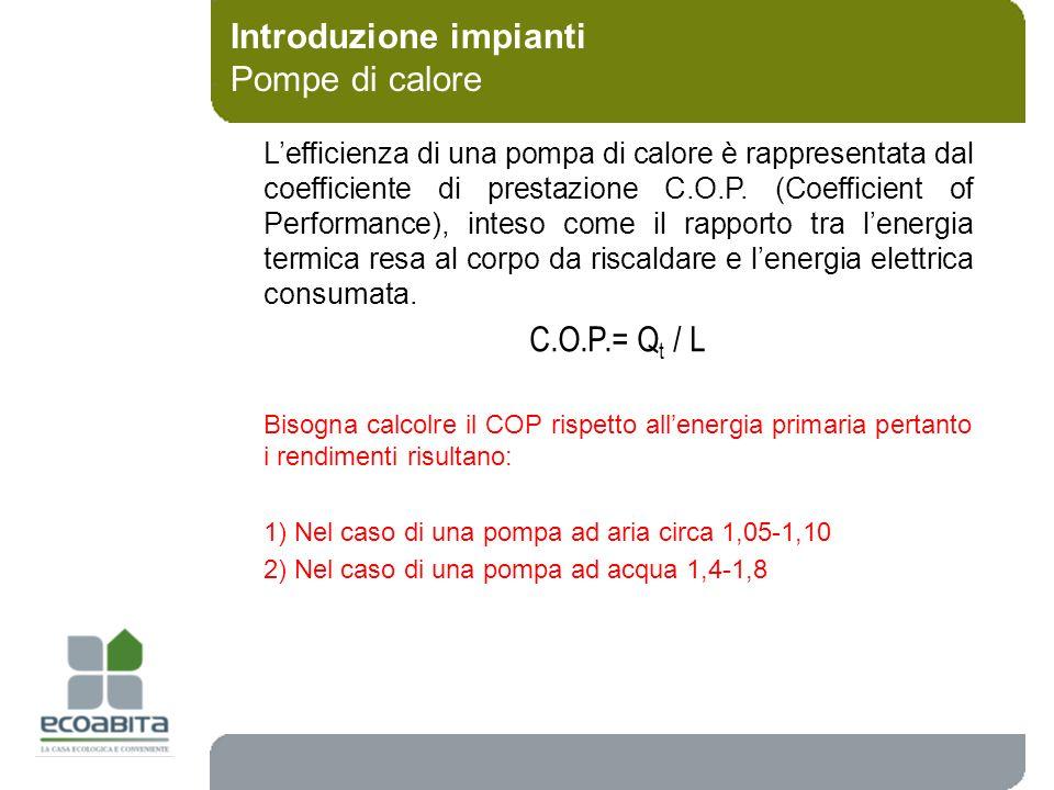 Introduzione impianti Pompe di calore C.O.P.= Q t / L Bisogna calcolre il COP rispetto allenergia primaria pertanto i rendimenti risultano: 1) Nel cas