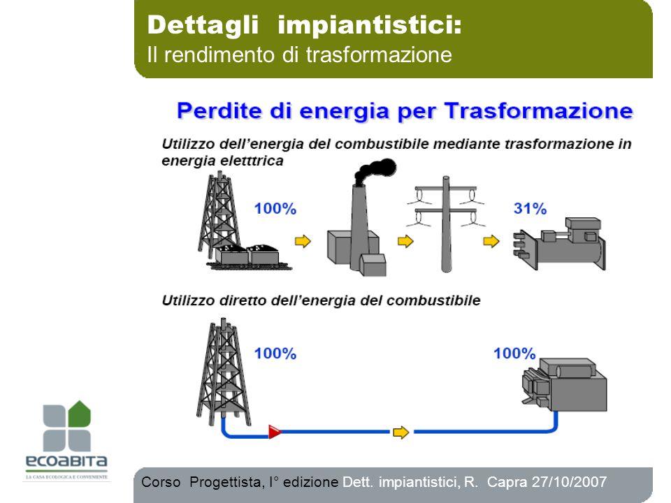 Dettagli impiantistici: Il rendimento di trasformazione Corso Progettista, I° edizione Dett. impiantistici, R. Capra 27/10/2007