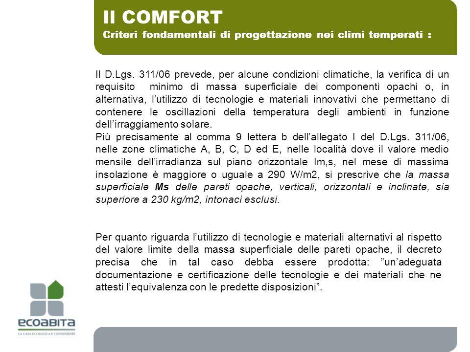 Criteri fondamentali di progettazione nei climi temperati : Il COMFORT Il D.Lgs. 311/06 prevede, per alcune condizioni climatiche, la verifica di un r