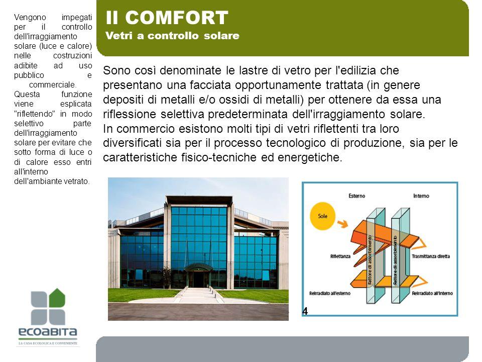 Vetri a controllo solare Il COMFORT Sono così denominate le lastre di vetro per l'edilizia che presentano una facciata opportunamente trattata (in gen