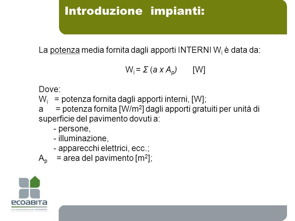 Introduzione impianti: La potenza media fornita dagli apporti INTERNI W i è data da: W i = Σ (a x A p ) [W] Dove: W i = potenza fornita dagli apporti