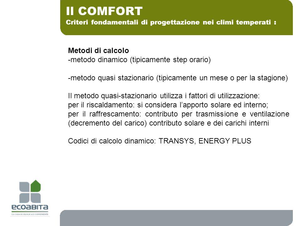 Criteri fondamentali di progettazione nei climi temperati : Il COMFORT Metodi di calcolo -metodo dinamico (tipicamente step orario) -metodo quasi staz