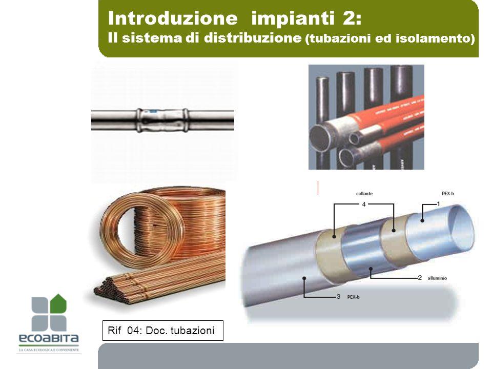 Introduzione impianti 2: Il sistema di distribuzione (tubazioni ed isolamento) Rif 04: Doc. tubazioni