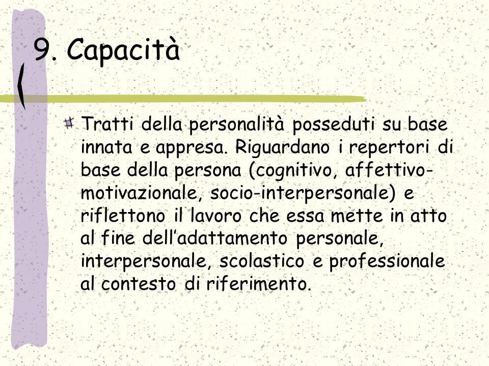 9. Capacità Tratti della personalità posseduti su base innata e appresa. Riguardano i repertori di base della persona (cognitivo, affettivo- motivazio